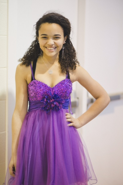 girl in her purple prom dress