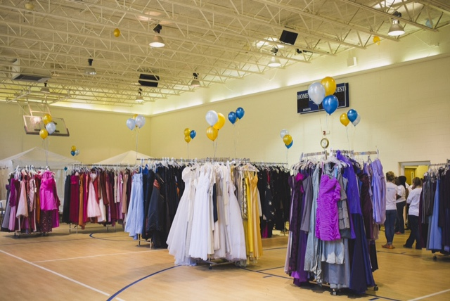 racks of the prom dresses